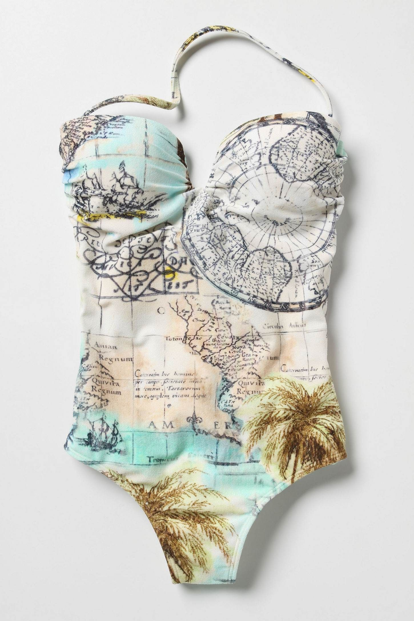 72c40957d4 Global Map One Piece Swimsuit! Really cool!! If the top wasn t sweetheart I  would get this!  )