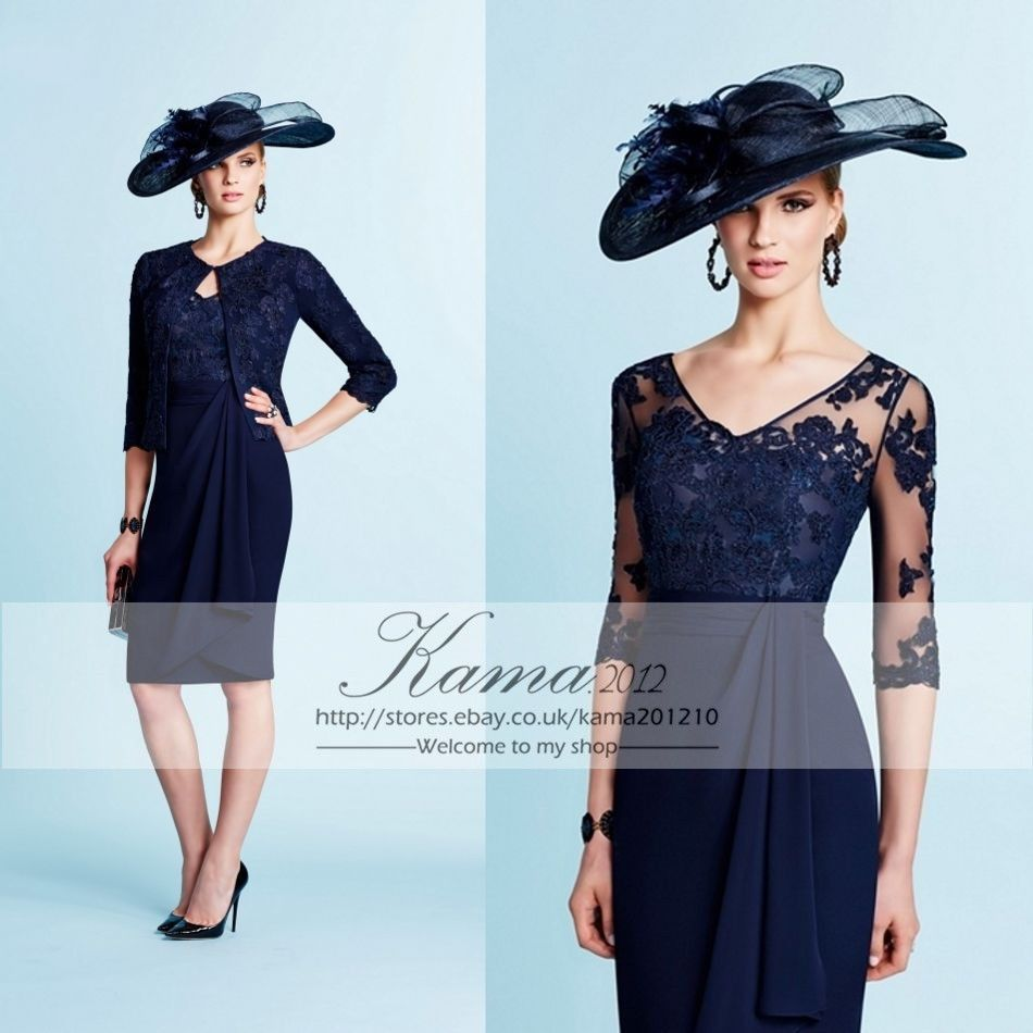 Navy Blue Mother Of The Bride Dresses Chiffon Knee Length Outfit 8