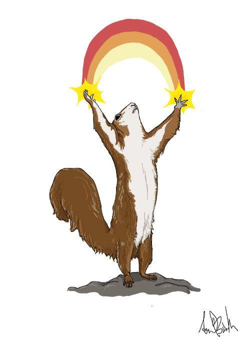 Rainbow Squirrel  8X11.5 Original Illustration by AprilBoothDraws