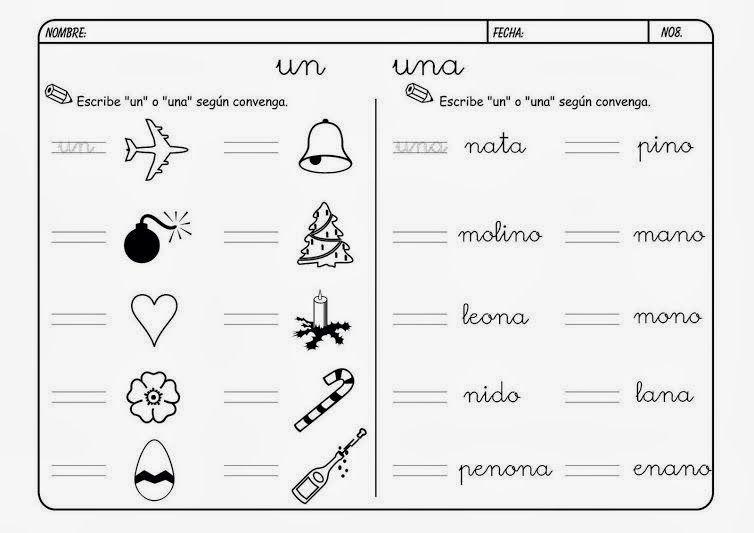 """Maestra Leyendo Para Colorear: Maestra De Primaria: Fichas Para """"un"""" """"una"""" """"unos"""" """"unas"""