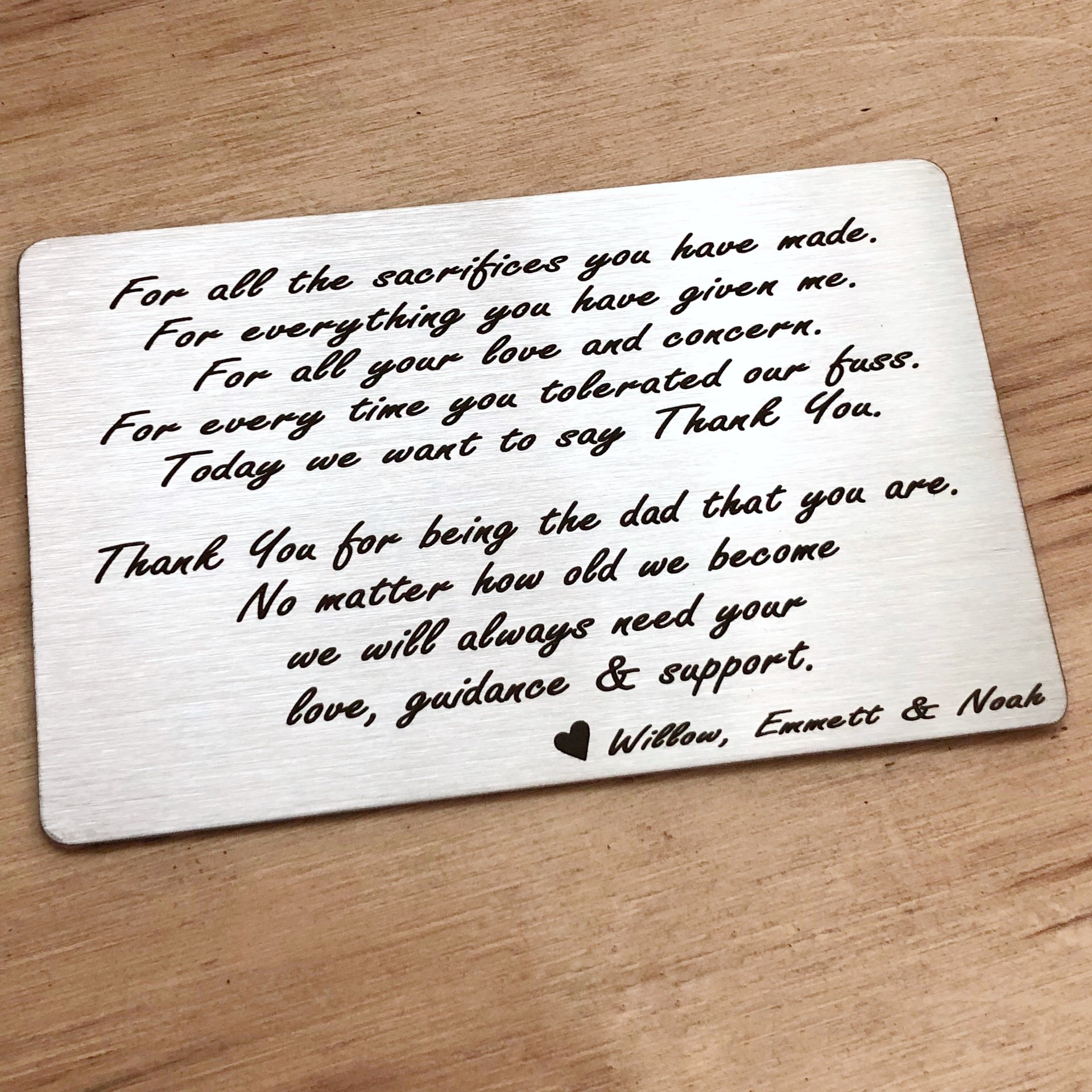 Thank You Dad Engraved Wallet Insert Letter To Dad Letter To Dad Engraved Wallet Engraved Wallet Cards