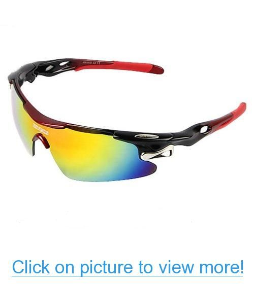 5aa21b283e RIVBOS 802 Polarized Sports Sunglasses with 5 Set Interchangeable Lenses  for Cycling