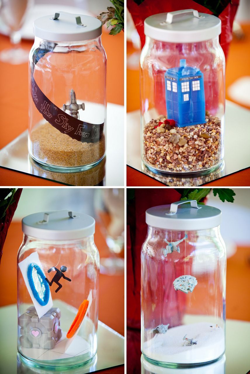 Geeky terrarium centerpieces ftw pinterest centerpieces flower geeky centerpieces must incorporate lights or flowers with them tho we could make them video game themed junglespirit Image collections