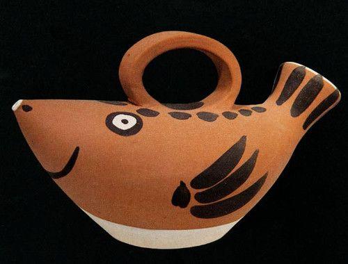 "EDITION PICASSO MADOURA ""Fish subject"" AR 139 Ceramic Pottery Fish Jug Sculptur"