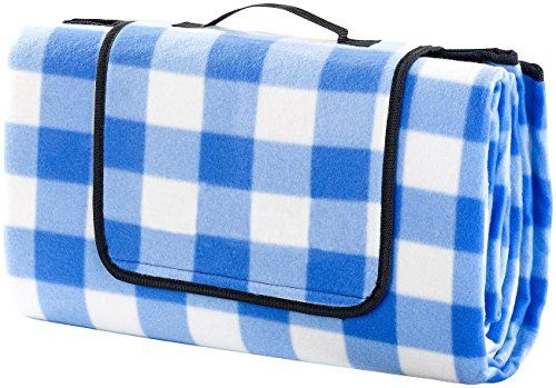 Monstar Xx Large 69x79 Blue Plaid Outdoor Blanket Water Proof