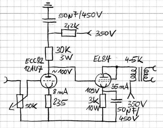 tube amp diagram using el84  ecc82 radio vacuum tube