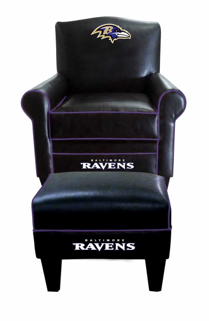 Elegant Baltimore Ravens NFL Game Time Chair U0026 Ottoman/Footstool Furniture  Set/Every Fans Dream