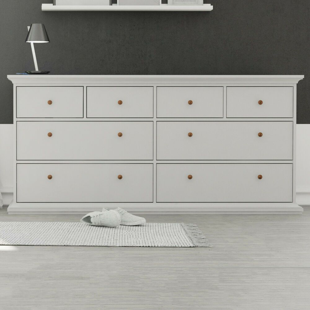 Buy White Large Chest Of Drawers Wide 8 Drawer Cabinet Unit Dresser Bedroom Storage Large Chest Of Drawers White Bedroom Bedroom Sideboard [ 1000 x 1000 Pixel ]
