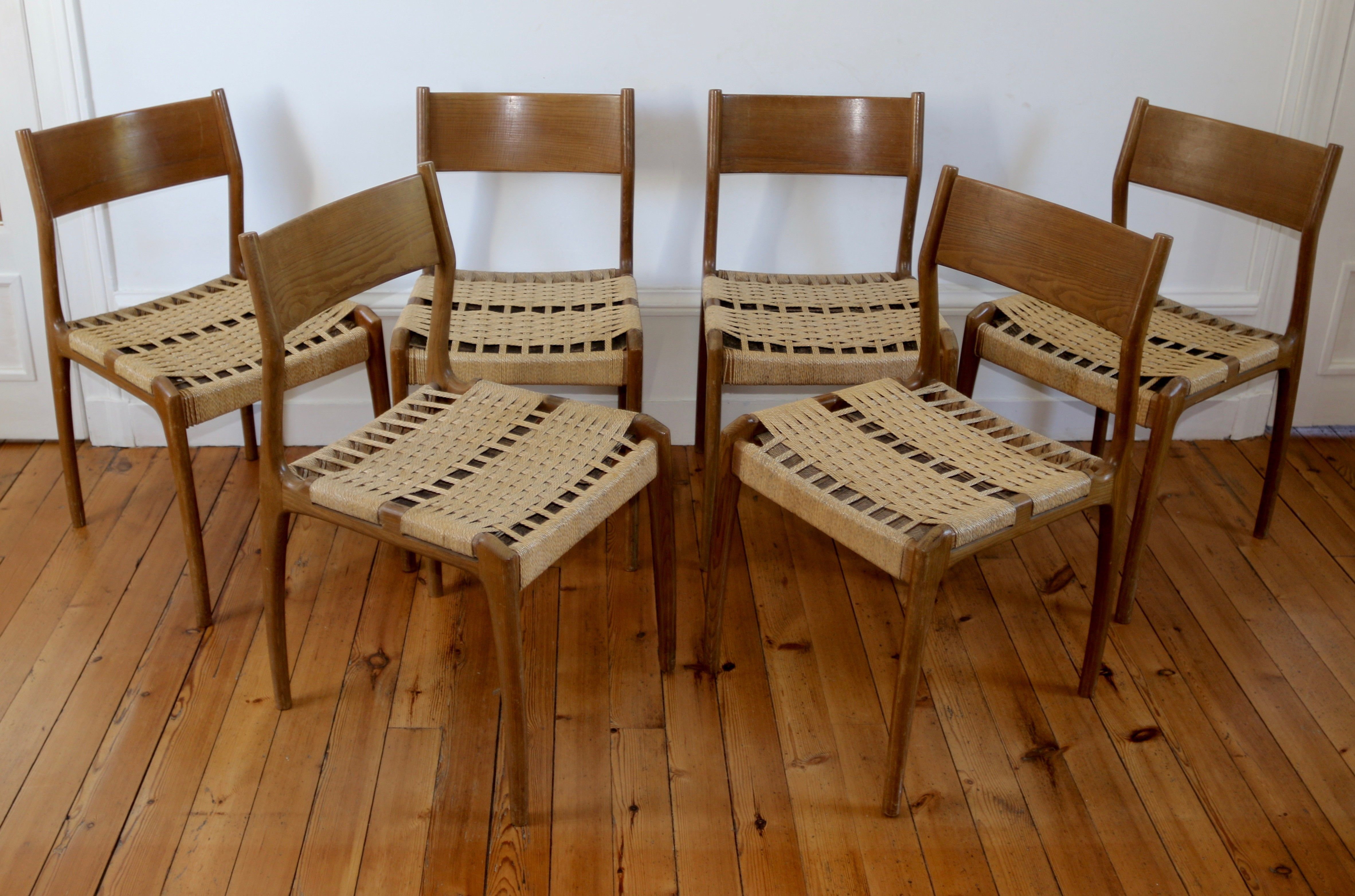 6 chaises scandinaves vintage annees 60