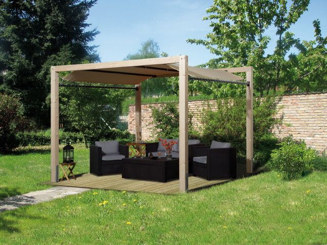 Holz Pavillon 320x320cm Mit Planendach Premium Gartenpavillon 3x3m