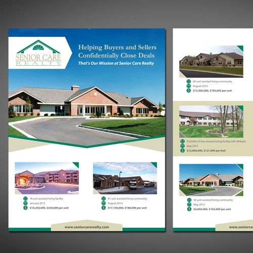 create a simple marketing flyer for senior care realty postcard