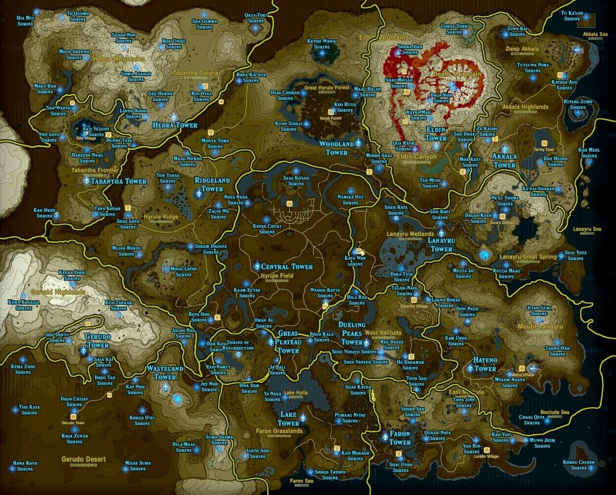 Here S The Full High Res Map Of Zelda Breath Of The Wild With All