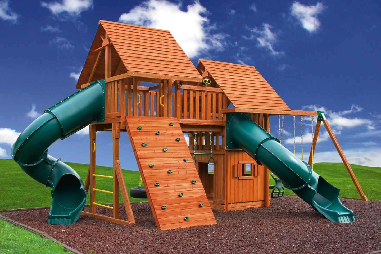 fantasy 5 wooden playset jungle gym cedar swing sets and clubhouses