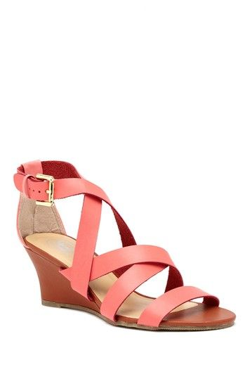 Coral Strappy Wedge