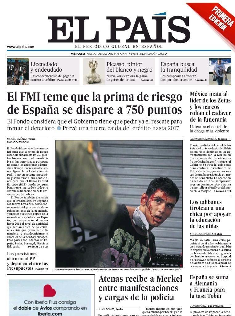 La primera edici n del diario el pa s del 10 de octubre de for Noticias del espectaculo internacional
