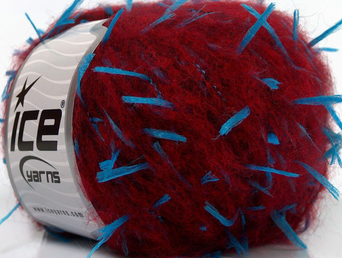Fiber Content 35% Polyamide 18% Acrylic 17% Polyester 15% Mohair Turquoise Brand ICE Burgundy fnt2-40753