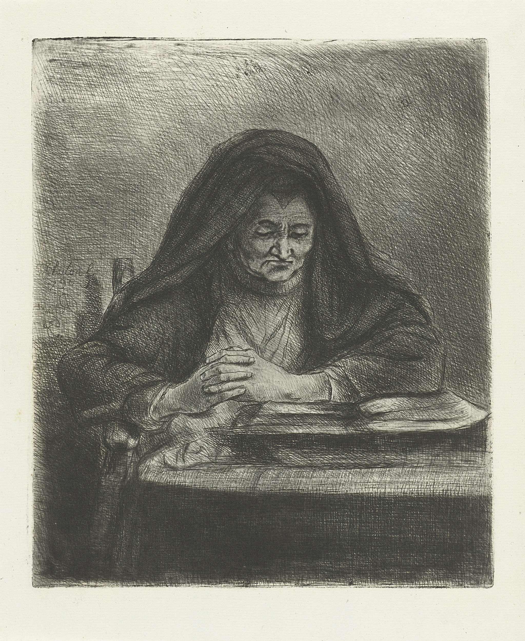 Jan Chalon | Lezende vrouw, Jan Chalon, 1790 | Een oude vrouw. Ze zit op een stoel voor een bureau en leest uit een boek. Ze draagt een zwarte sluier.