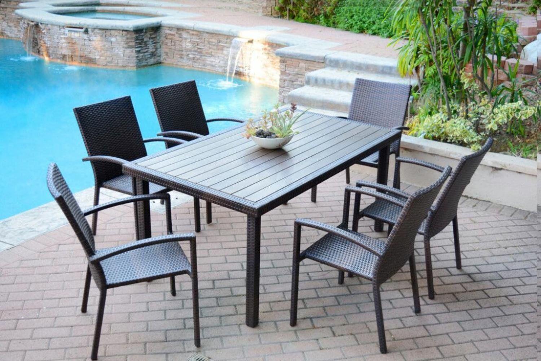 Amazon Com 7 Piece Espresso Resin Wicker Outdoor Dining Table And