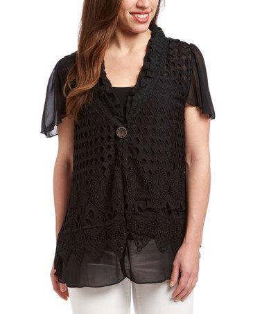 Look at this #zulilyfind! Black Floral Diamond-Knit Linen-Blend Cardigan - Women #zulilyfinds