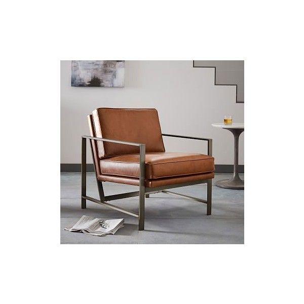 West Elm Metal Frame Chair, Leather, Saddle, Burnished Bronze Frame (£845