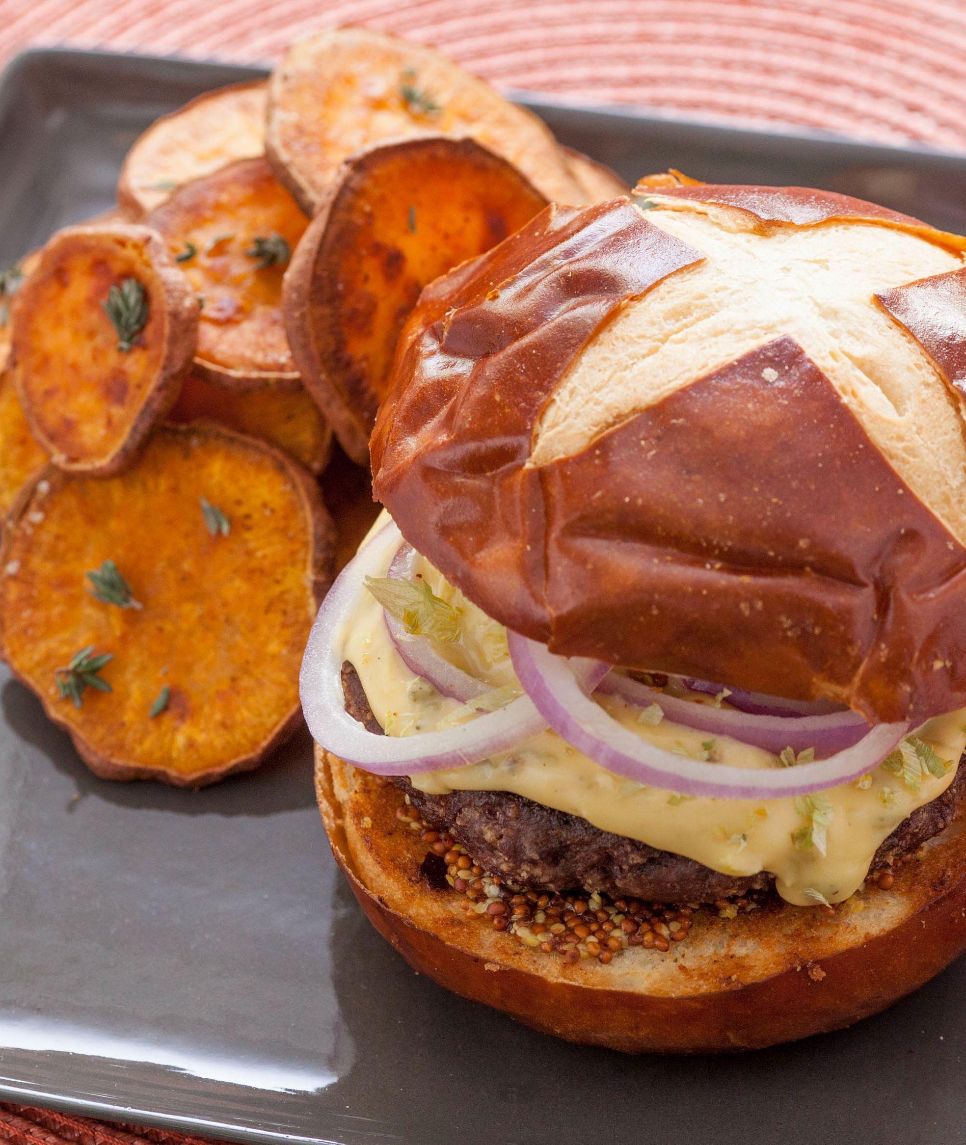 Blue apron turkey burger - Pretzel Burgers With Hoppy Cheddar Sauce Roasted Sweet Potato Rounds