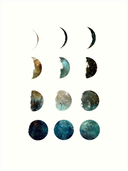 'Galaxy moon phases ' Art Print by whitedoeprints