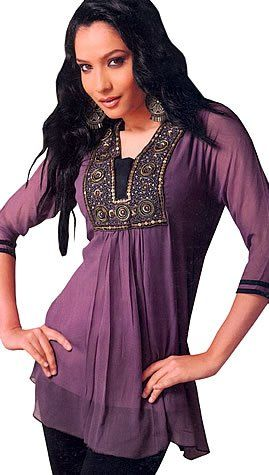 Women/'s Plus Size Maroon Tunic,Chiffon Tunic,Indian Tunic,Embroidered Tunic,Women/'s Tunic,Top and Tees,Indian Kurti,Beach Tunic,Summer Tunic