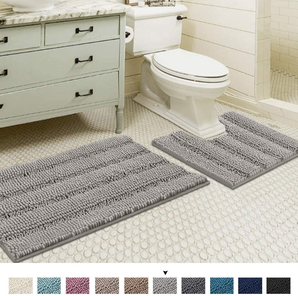 Amazonsmile Dove Bath Mats For Bathroom Non Slip Ultra Thick And Soft Chenille Plush Striped Floor Mats Bath Rugs Set Bathroom Rugs Bath Rugs Sets Shower Rugs [ 994 x 1000 Pixel ]