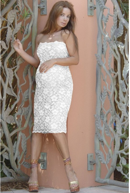 Strapless Lace Maternity Dress In Ivory! So Pretty For Your Baby Shower!  Find @