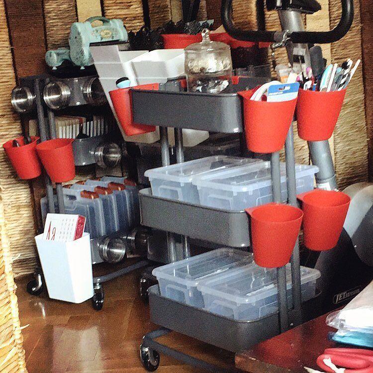 I have built mine tree #ikearåskog together and have filled them with storage boxes etc. #happyday #crafting #scrapbooking #scrapbookingsupplies #craftingsupplies #bigshot #ikea #raskog #råskog #bäckebol #ikeabäckebol #storage #dies #timholtz #artbin #ikeabygel #ikeaskurar #ikeagrundtal