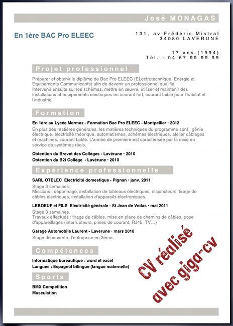 modele de cv pour stage bac pro Au lycée, exemple de CV pour recherche de stage en BAC PRO   cv  modele de cv pour stage bac pro