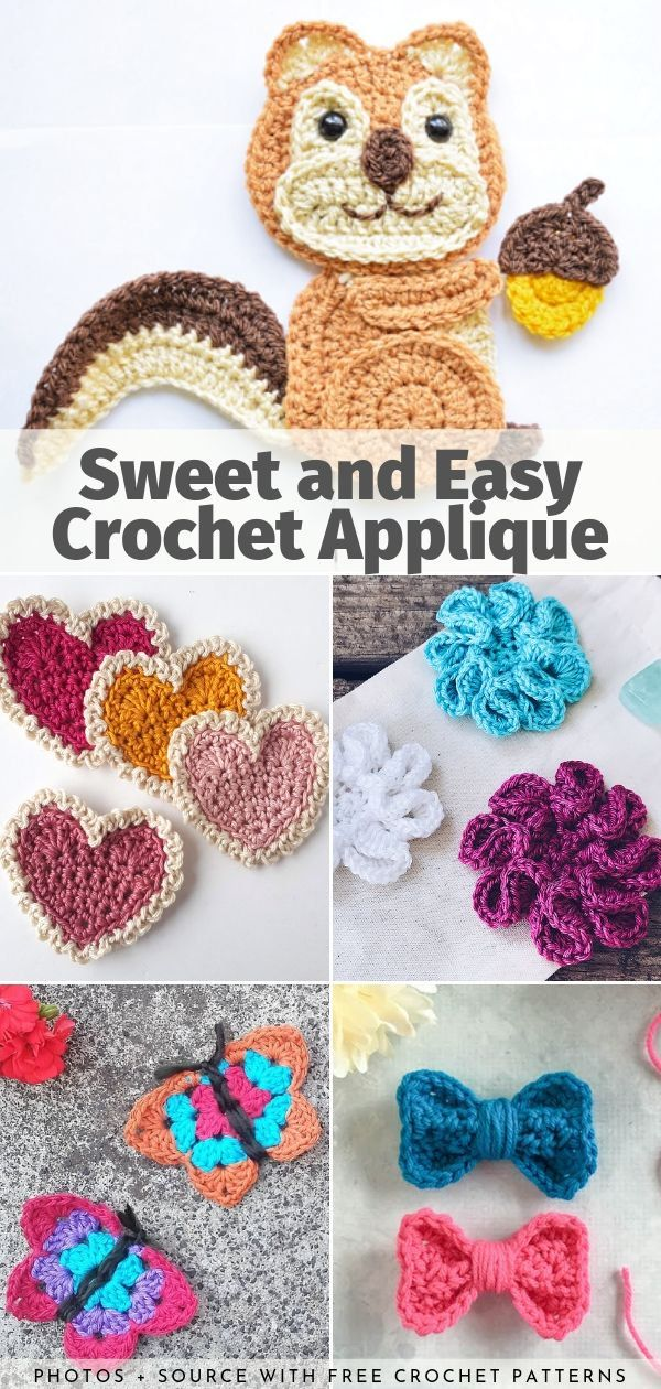 Sweet and Easy Crochet Applique Free Patterns #crochetapplique