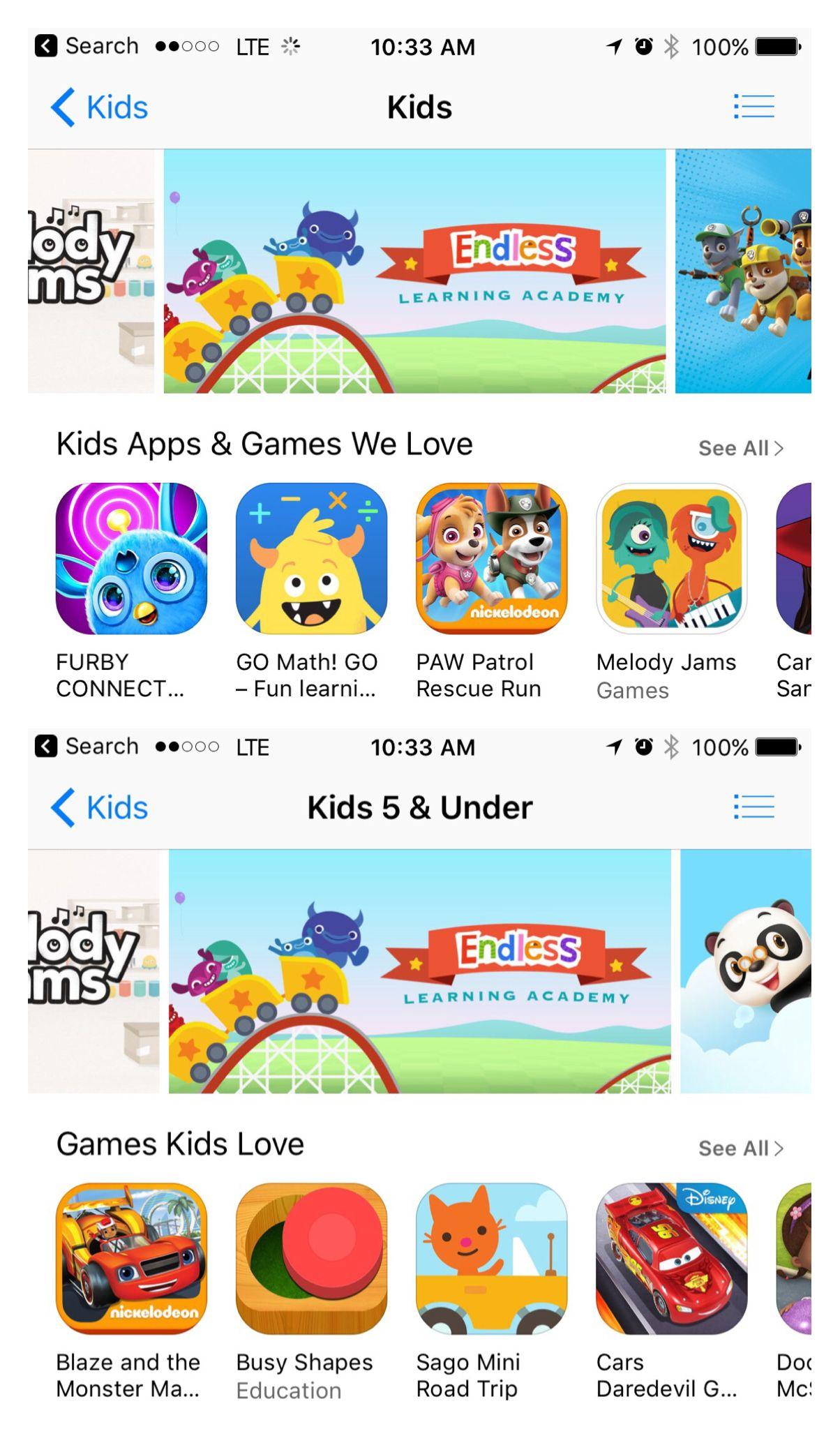ELA promo in Kids and Kids under 5 categories Kids app