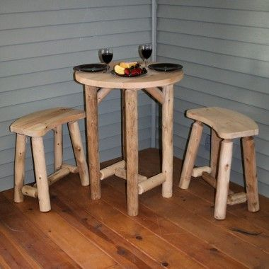 Contoured Comfort Log Balcony Table with 2 Curved Benches
