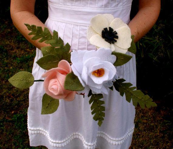eco-friendly felt bridal bouquet with rose peony by FuzzyRose