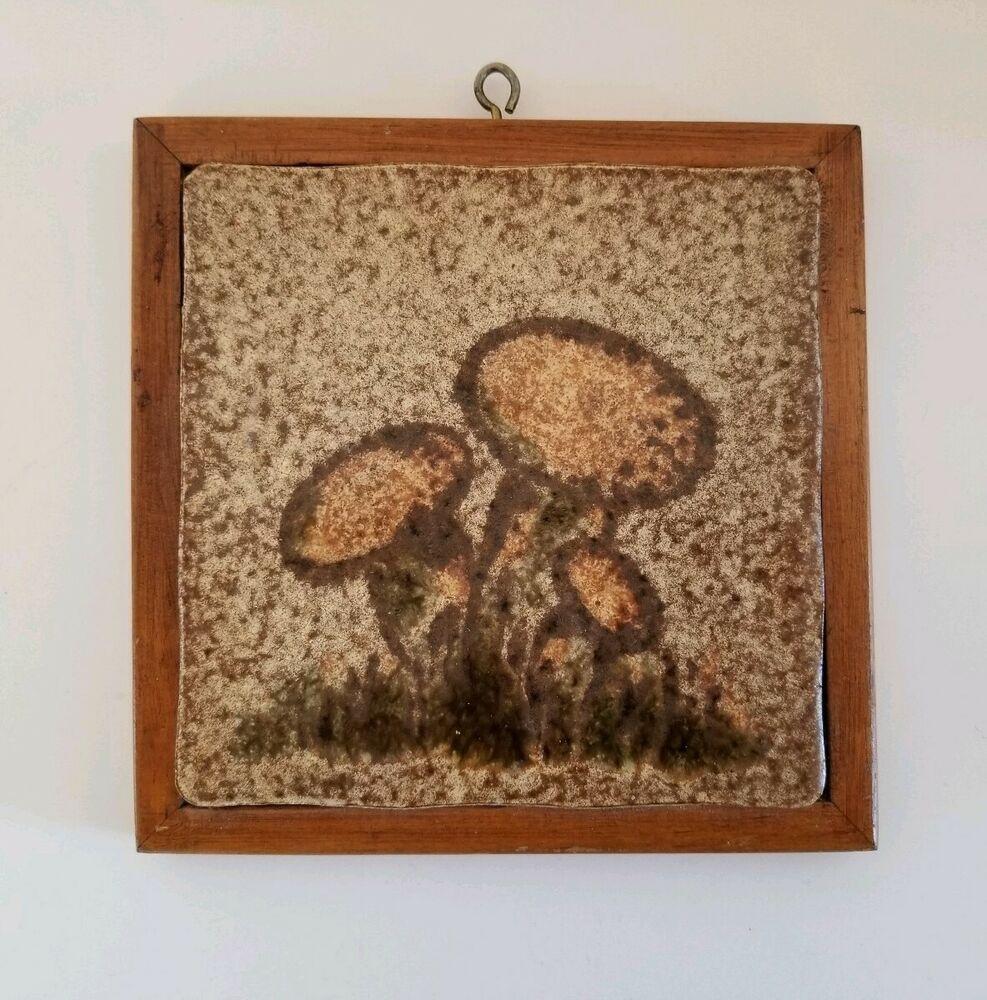 VINTAGE Ceramic Tile/Wood MUSHROOMS TRIVET/Wall Plaque