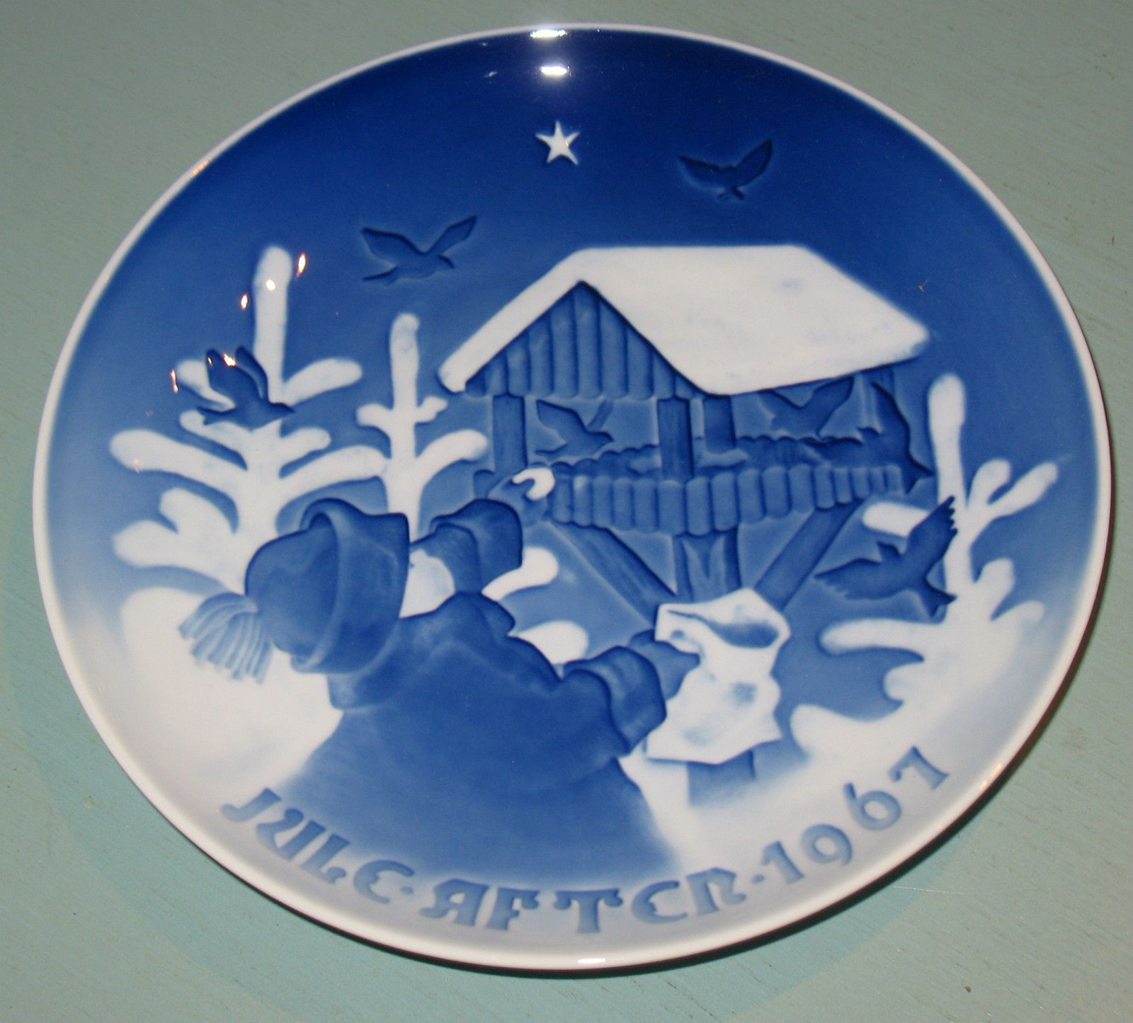 B G Bing Grondahl Blue White 1967 Jule Aften Collectors Plate Birdhouse Snow | eBay