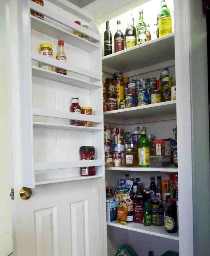 White Painted Pantry Door With Half Wooden Floating Spice Racks. Simple Over  The Door Pantry Organizer Ideas