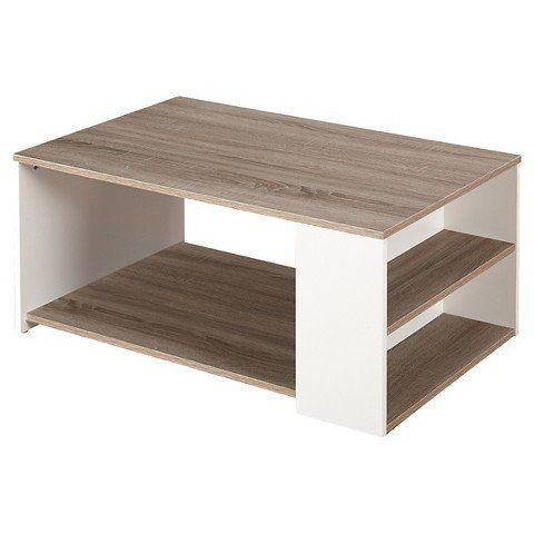 "The Mezzanine Shoppe Urban Ultra Modern 3 Shelf Living Room Coffee Table, 35.4"" White/Sonoma Oak"