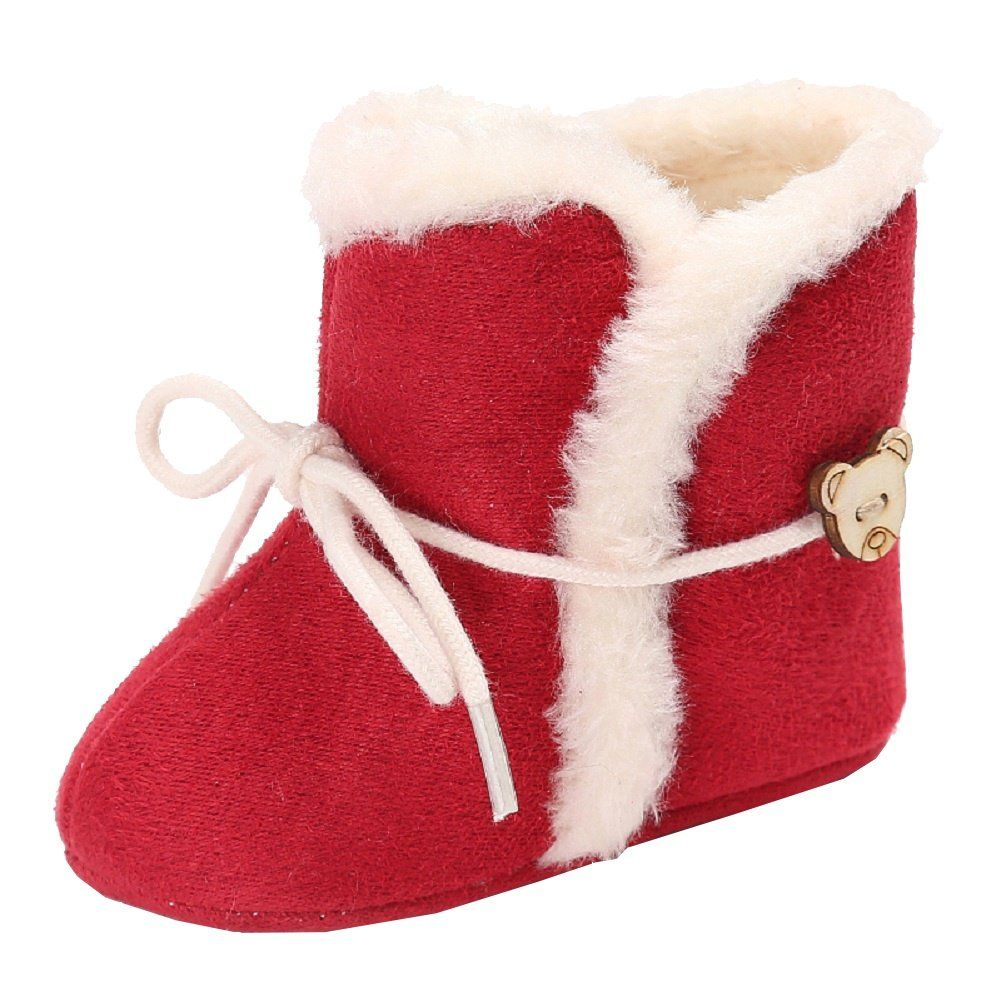 Toddler Newborn Christmas Baby Snow Soft Sole Boots Prewalker Warm Lace Up Shoes