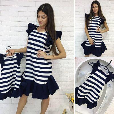 339c5e8bdeb5 Family Look комплект 2 платья крылышки полоска мама дочка | детская ...