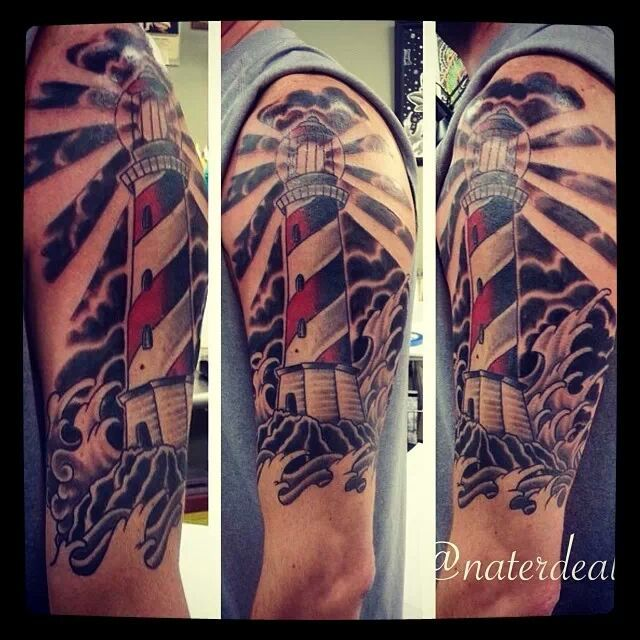 Lighthouse By Nate Deal At Iron Brush Tattoo Lincoln Ne R Tattoos Brush Tattoo Lighthouse Tattoo Tattoos