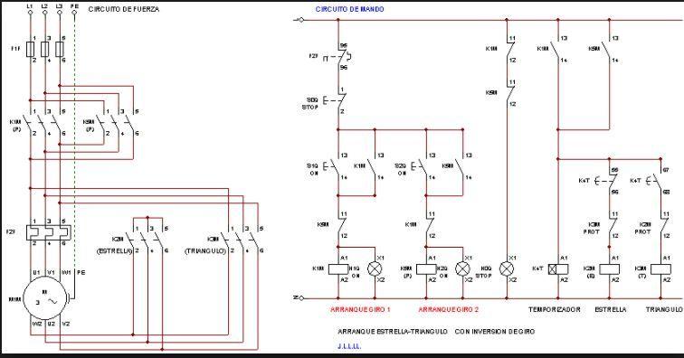 Resultado De Imagen Para Planos De Arranque Estrella Triangulo Con Inversion De Giro Plano Instalacion Electrica Proyectos Eléctricos Planos