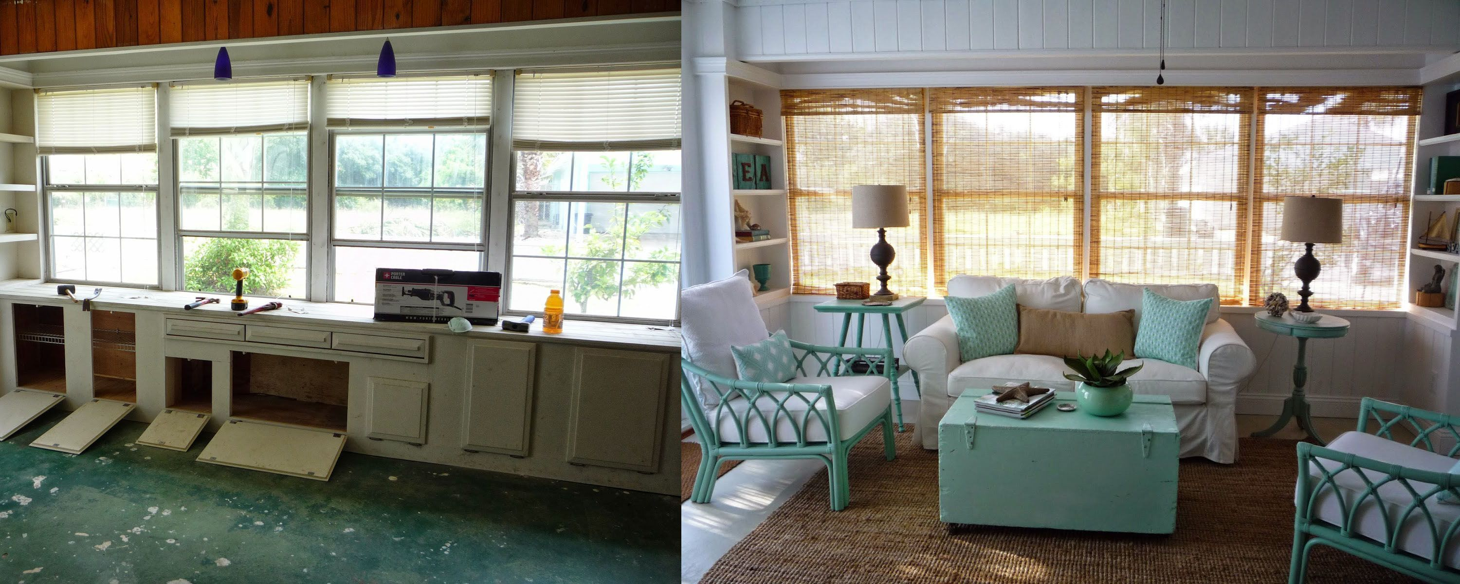 Before and after of a coastal style living room remodel   Living ...
