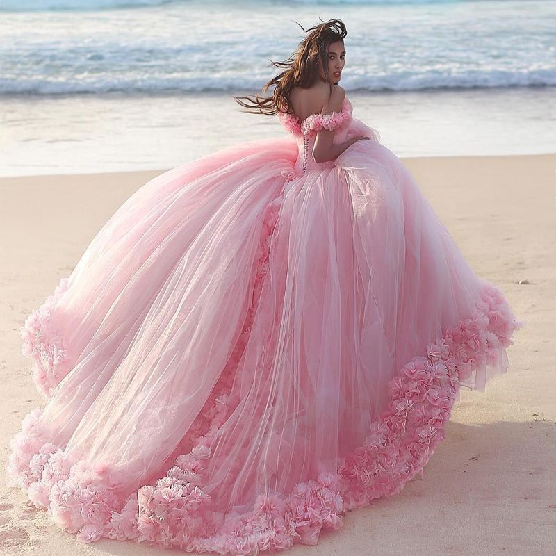 bc58204240385 Off The Shoulder Tulle Flower Quinceanera Dresses Ball Gowns 2019 ...