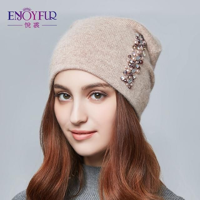 80a8b2dd2de ENJOYFUR winter hats for women knitted wool warm hats lady fashion  Rhinestones beanies skull cap