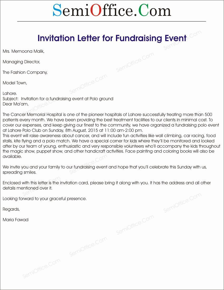 Corporate event Invitation Sample New Fundraising event Invitation