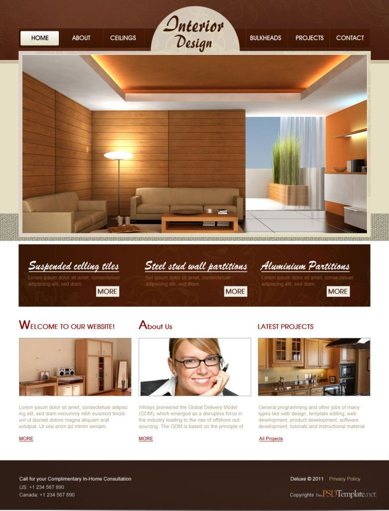 Best Interior Design Website Templates Free Mobile Internet