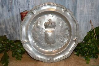Antique Pewter Plate French Crown Heraldic Shield Crest German Hallmarks & Antique Pewter Plate French Crown Heraldic Shield Crest German ...
