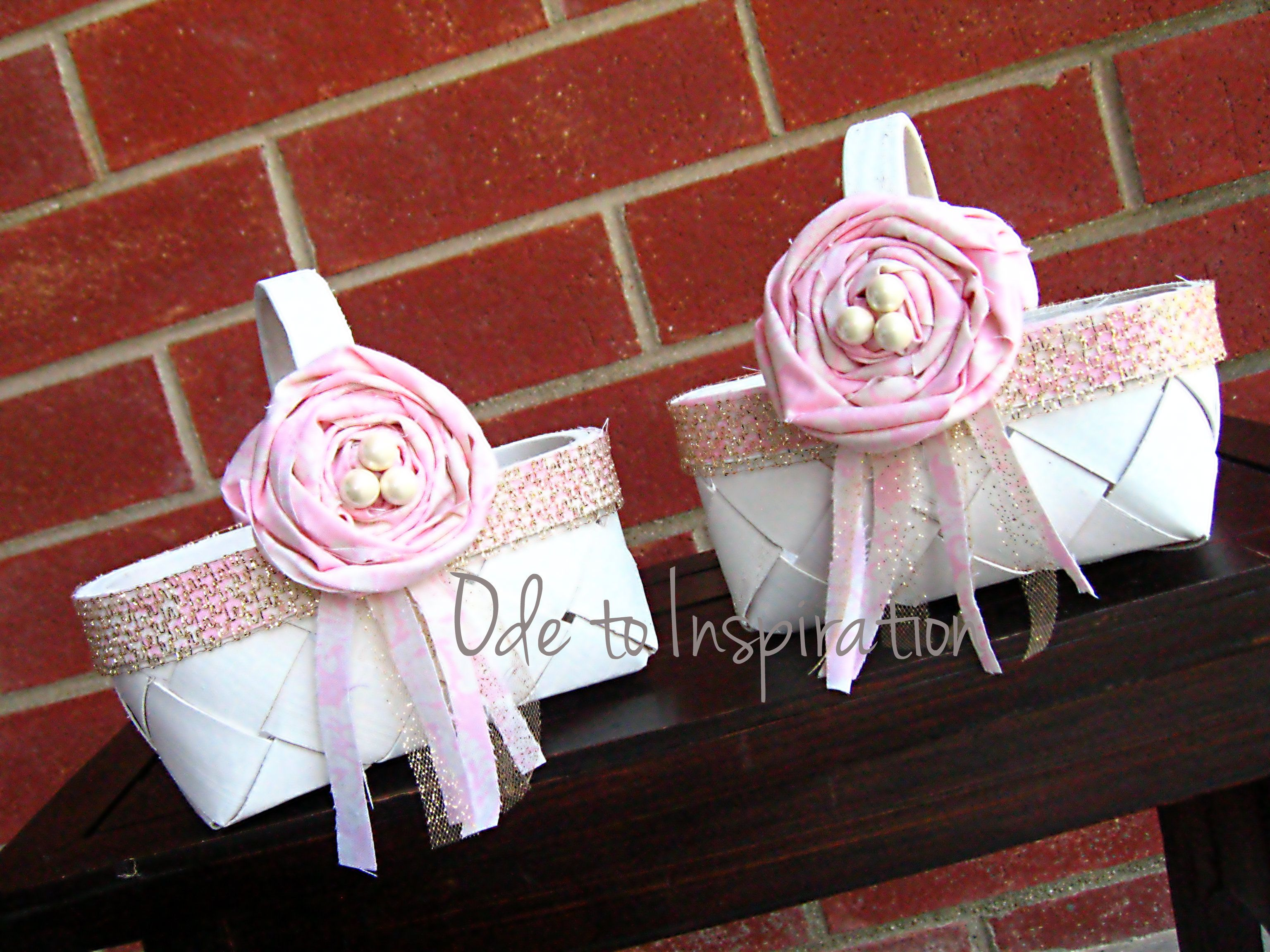 DIY Flower Girl Baskets Weddinglace Burlap Roses And Turquoise